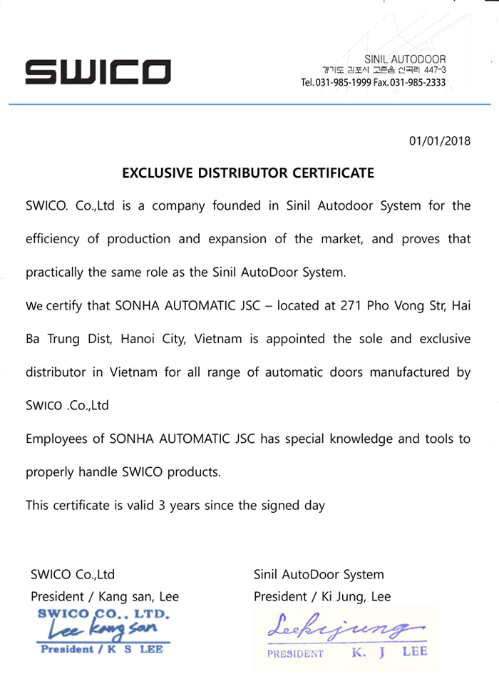 Certified dealer SWICO - Korea