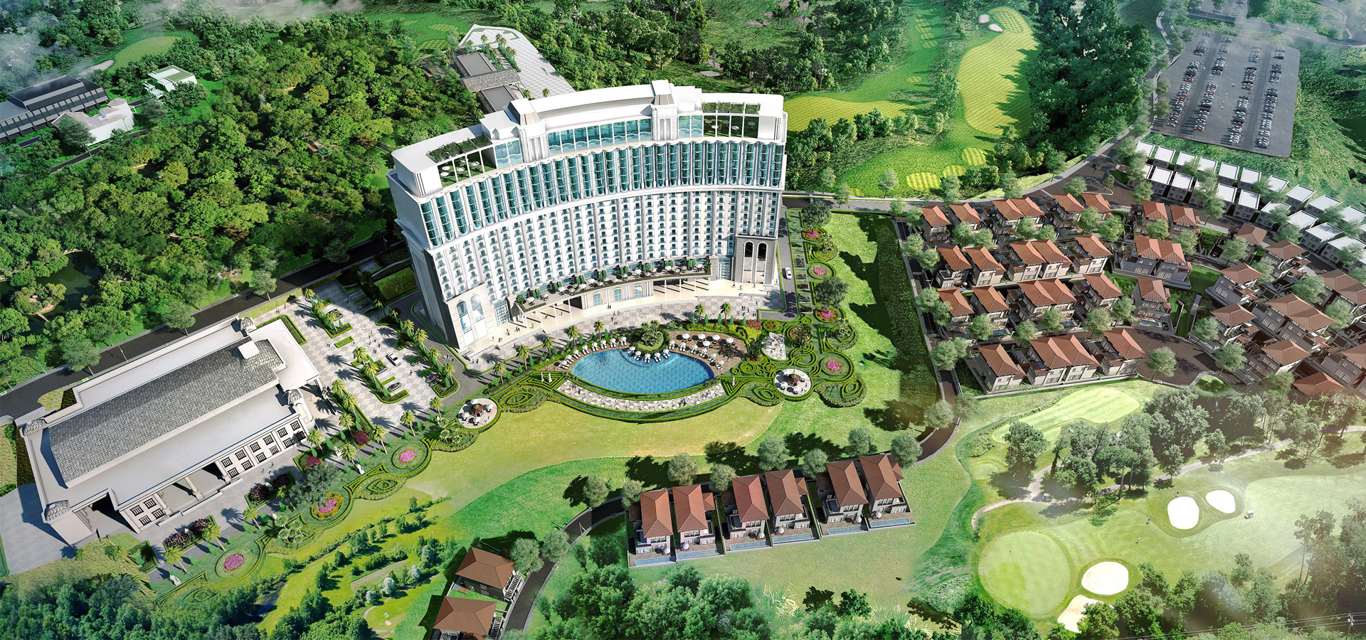 FLC Halong Bay Golf Club & Luxury Resort (FLC Ha Long) is one of the few resort projects that owns a prime location when located on a high hill, leaning against a mountain, facing the ocean.